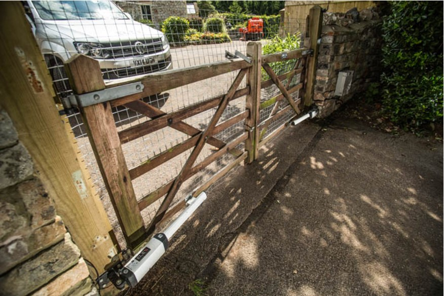 wooden 5 bar electric driveway gates