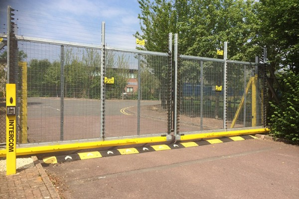 electrified metal commercial swing gate