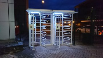 security turnstile at Rolls Royce Bristol