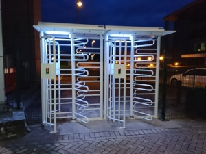 Automatic security turnstiles at Rolls Royce Bristol