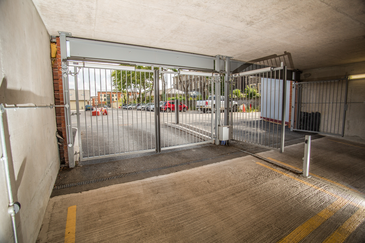 underground car park automated metal security gate