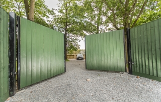green wood fill steel electric gate bristol