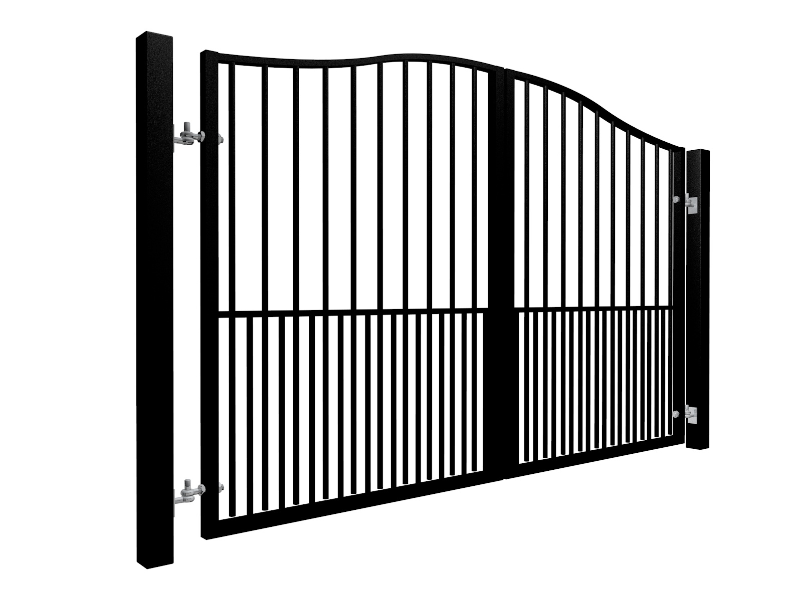 Traditional Bell Top Swinging Metal Gate With Dog Bars