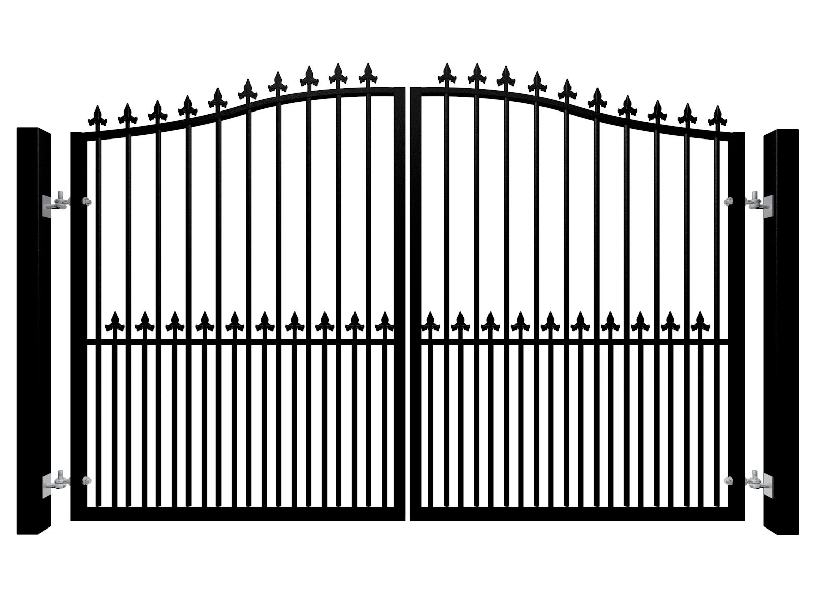 Traditional Bell Top Swinging Metal Gate With Dog Bars and Finials