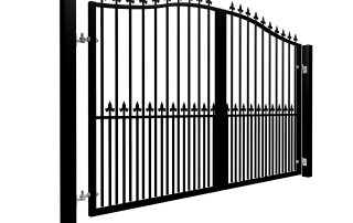 Traditional Bell Top Swinging Metal Driveway Gate With Dog Bars and Finials