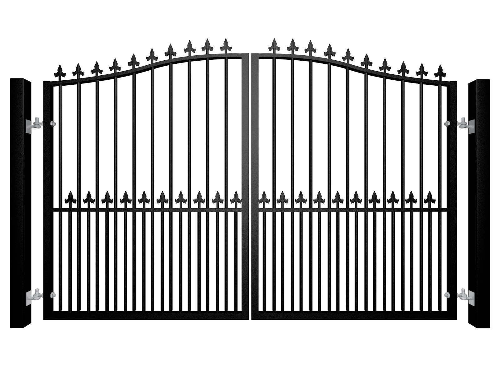 Traditional Bell Top Swinging Metal Gate With Finials And Dog Bars Bristol