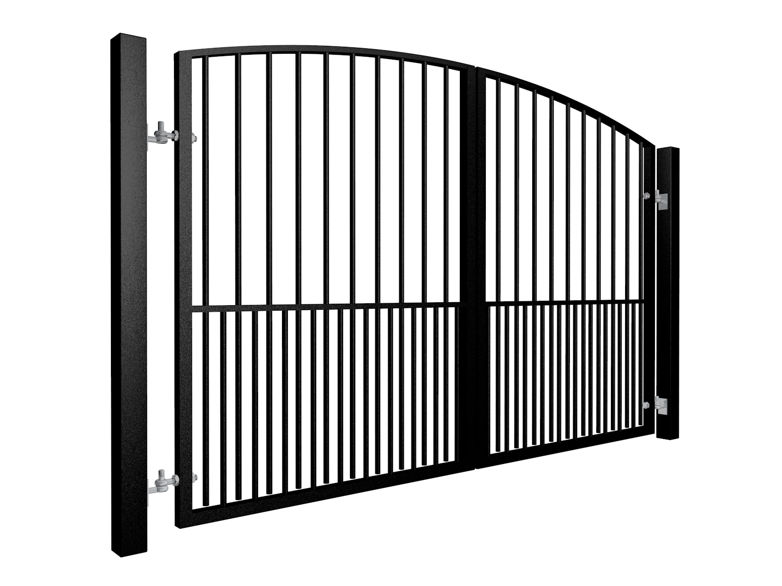 Arch Top Swinging Metal Gate with dog bars Bristol