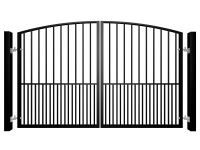 Traditional Arch Top Swinging Metal Driveway Gate With Dog Bars