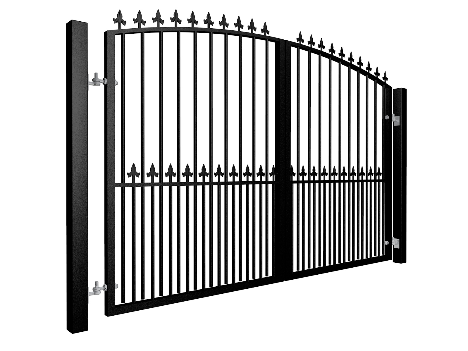 Arch Top Swinging Metal Gate with dog bars & finials Somerset