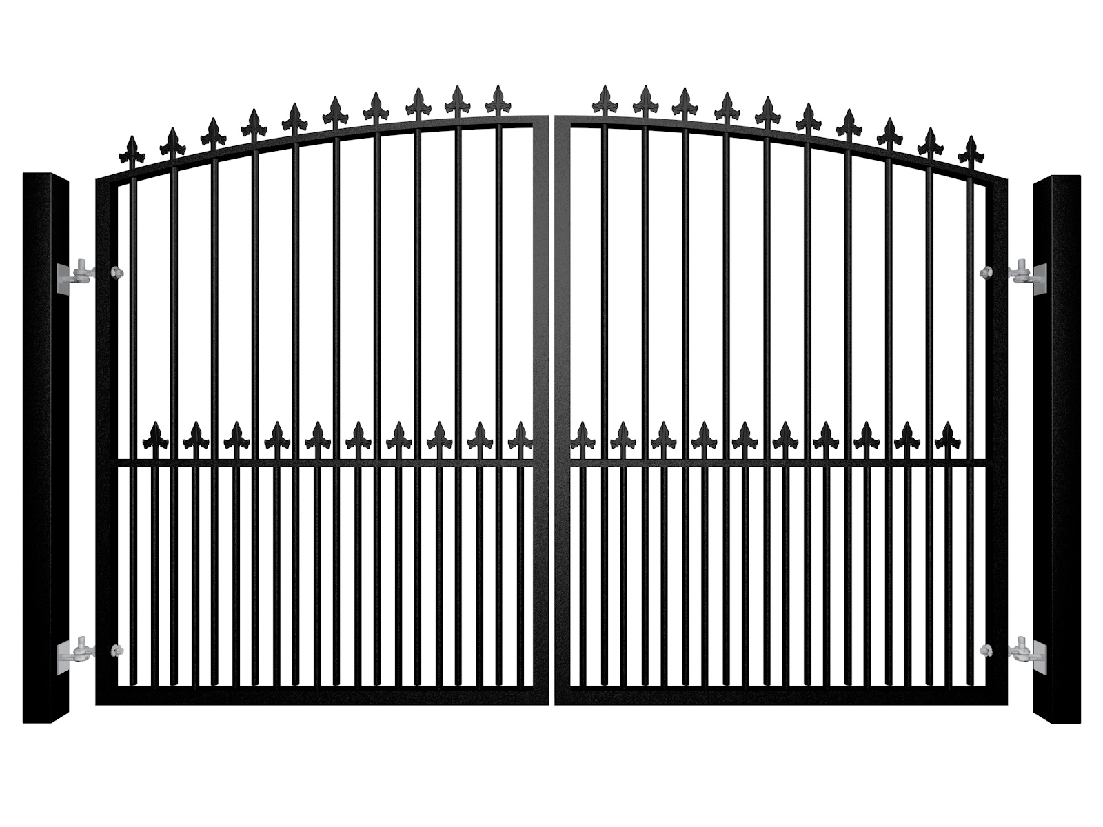 Traditional Arch Top Swinging Metal Gate With Finials And Dog Bars