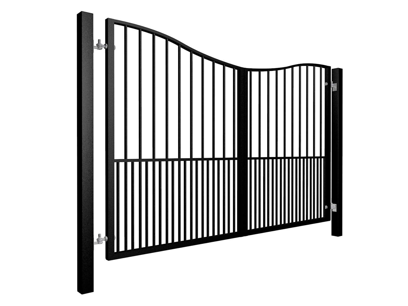 Bow Top Swinging Metal Gate with dog bars Somerset