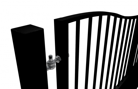 Bow Top Swinging Metal Gate with dog bars