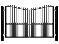 Bow Top Swinging Metal Gate with dog bars & finials