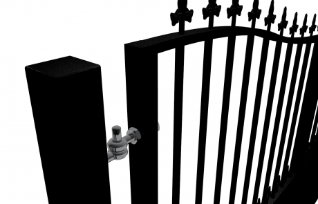 Bow Top Swinging Metal driveway Gate with dog bars & finials