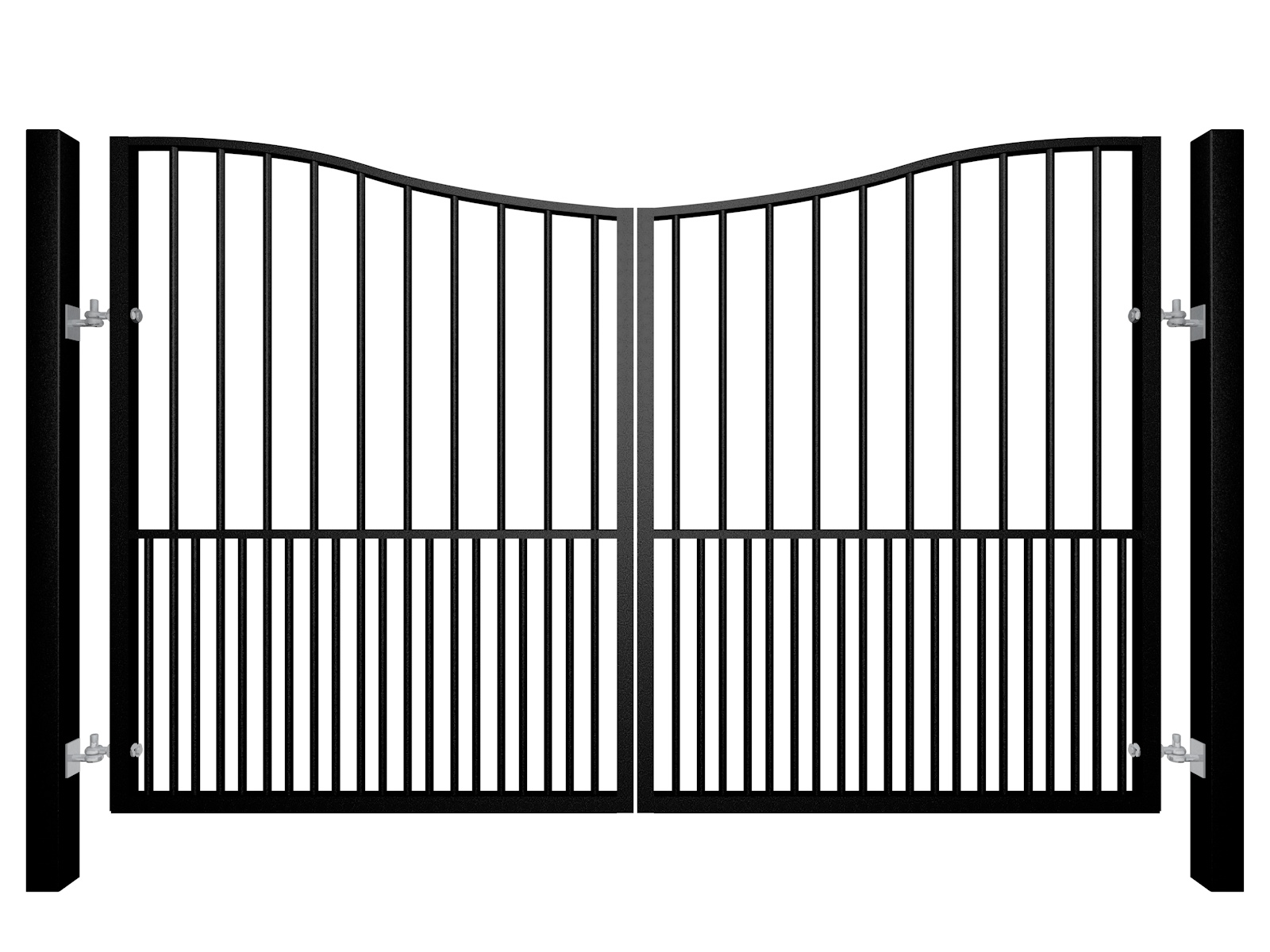 Traditional Bow Top Swinging Metal Gate With Dog Bars
