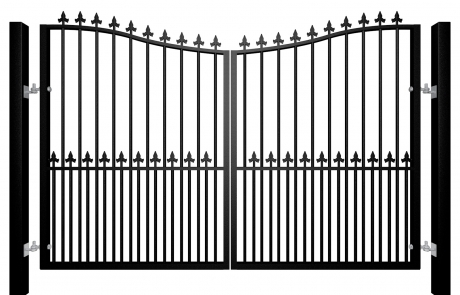 Traditional Bow Top Swinging Metal Gate With Dog Bars and Finials Nailsea