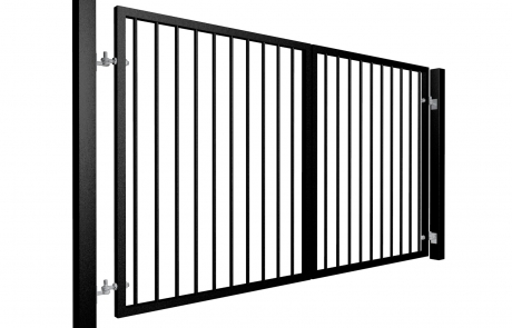Traditional Flat Top Swinging Metal Driveway Gate
