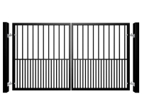Traditional Flat Top Swinging Metal Gate With Dog Bars
