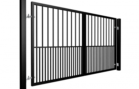 Traditional Flat Top Swinging Metal Driveway Gate With Dog Bars