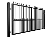 Traditional Flat Top Swinging Metal Gate With Dog Bars and Finials