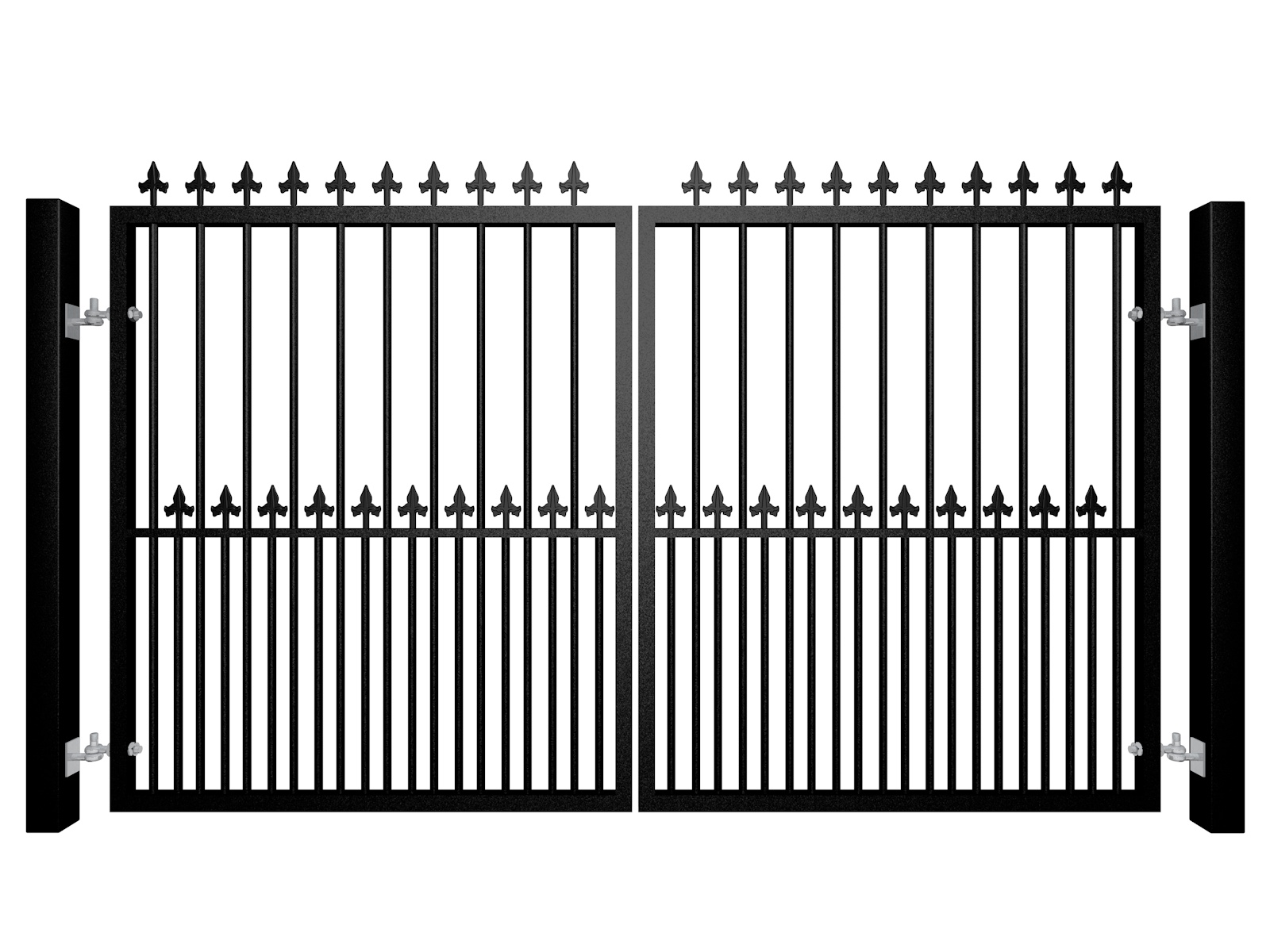 Traditional Flat Top Swinging Electric Metal Gate With Dog Bars and Finials
