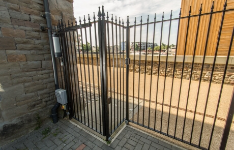 automated steel pedestrian gates
