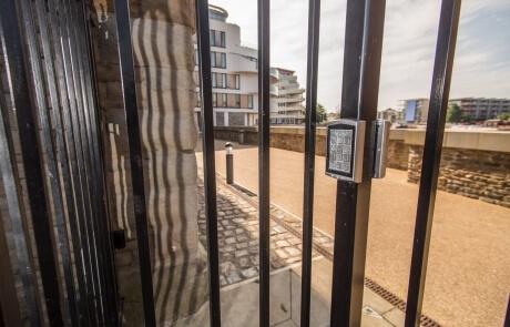 automated steel pedestrian gates