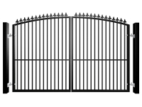 Metal arch top swinging automated gate with finials and dog bars