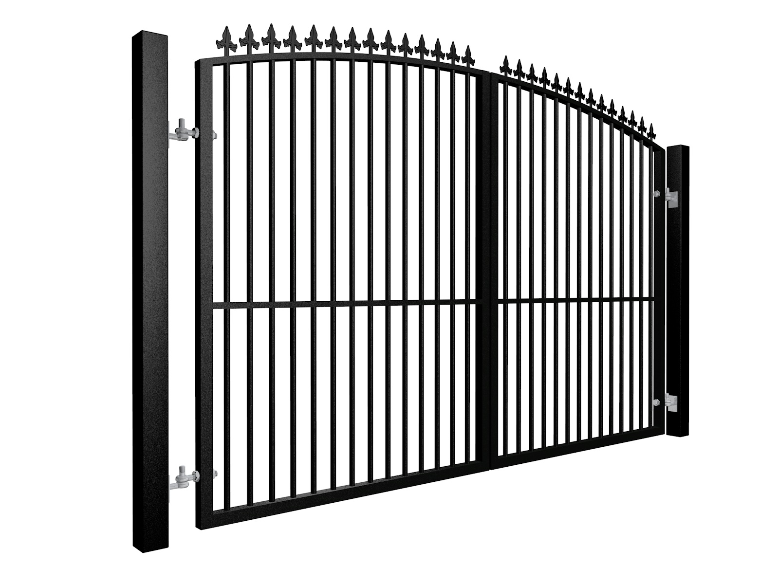 black Metal arch top swinging automated gate with finials and dog bars