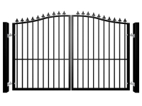 Metal bell top swinging automated driveway gate with finials and dog bars