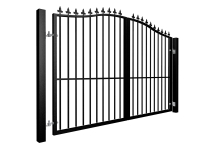 Metal bell top swinging automated gate with finials and dog bars