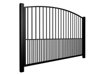 metal traditional style automated gate with arch top dog bars