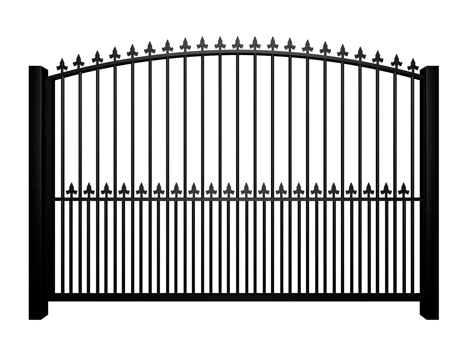 metal traditional style automated driveway gate with arch top dog bars and finials nailsea