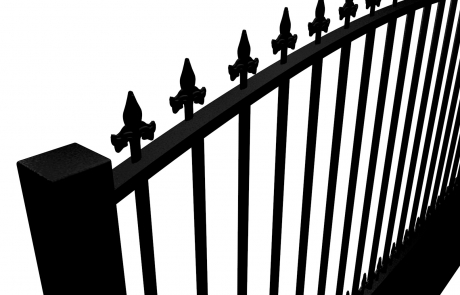 metal traditional style automated gate with arch top dog bars and finials