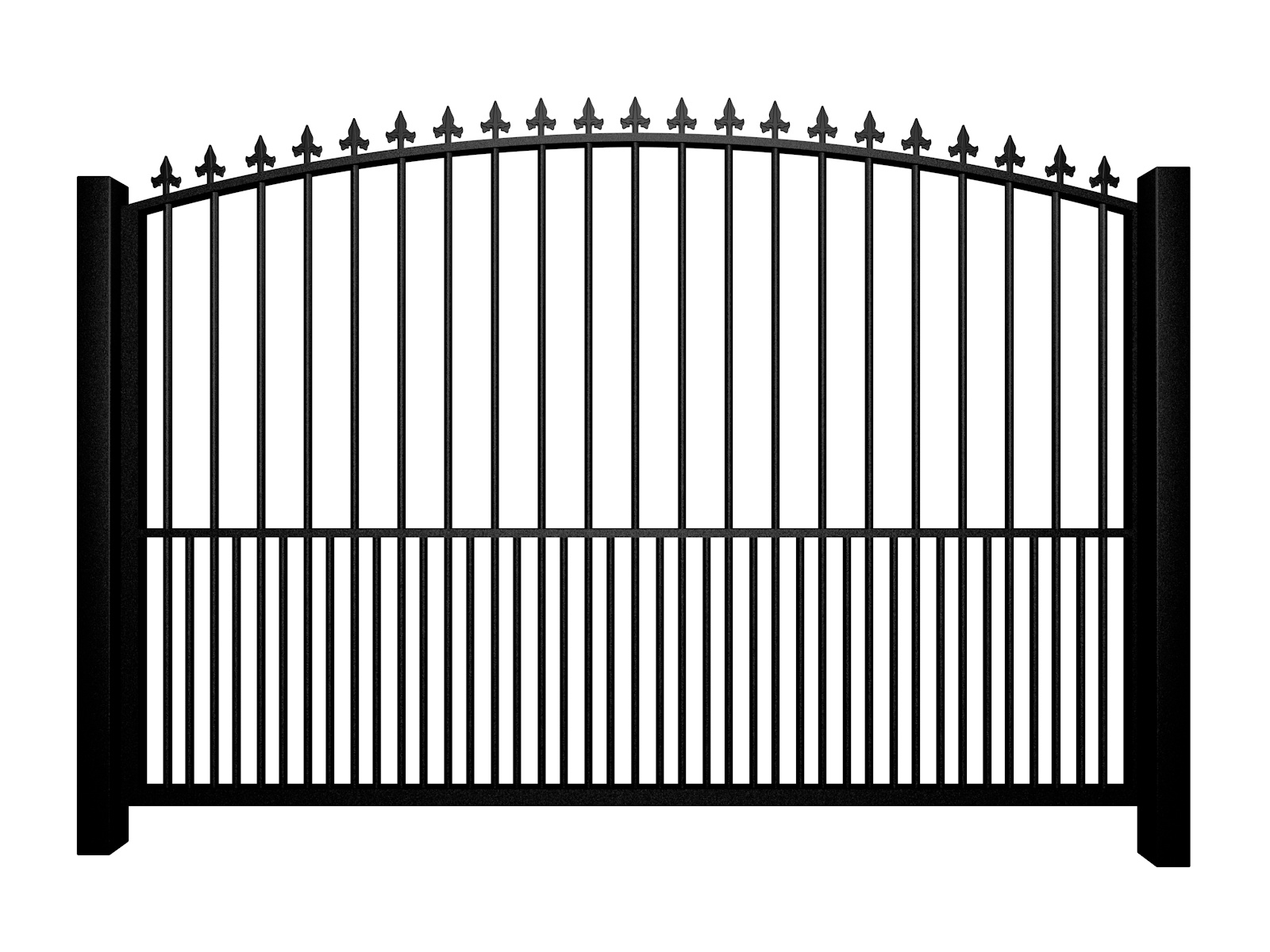 Metal arch top sliding automated driveway gate with finials and dog bars