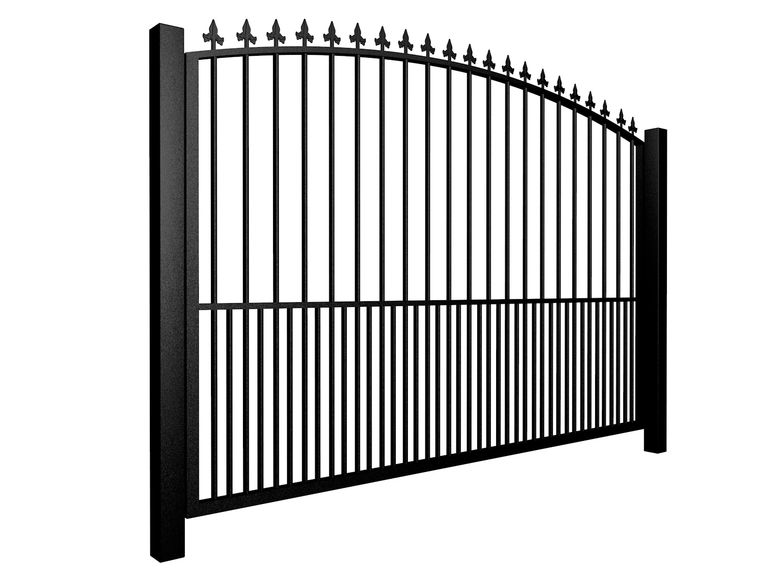 Metal arch top sliding automated gate with finials and dog bars