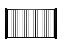 metal traditional style automated driveway gate with flat top