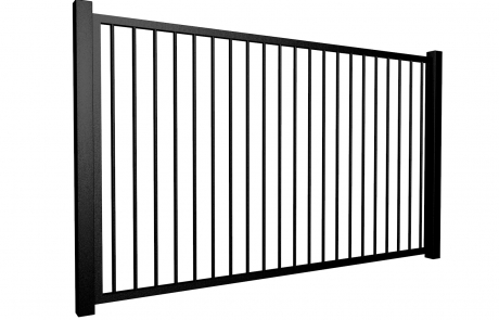 metal traditional style automated gate with flat top
