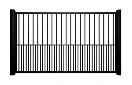black metal flat top swinging electric gate with dog bars bristol