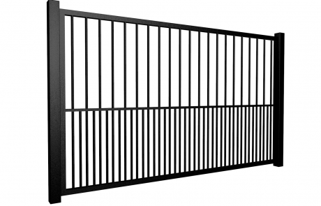 metal traditional style automated gate with flat top dog bars