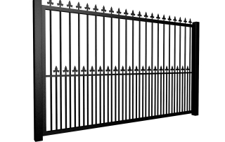metal traditional style automated driveway gate with flat top dog bars and finials