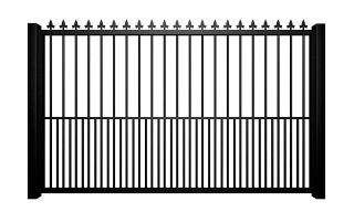 Metal flat top sliding automated driveway gate with finials and dog bars