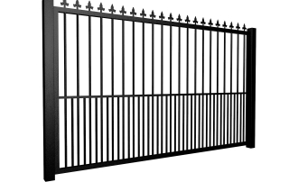 Metal flat top sliding automated gate with finials and dog bars