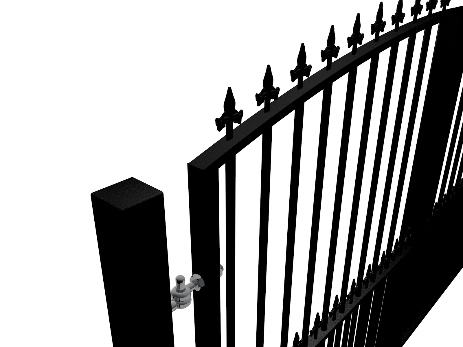 Arch Top Swinging Metal Gate W/Dog Bars & Finials Somerset
