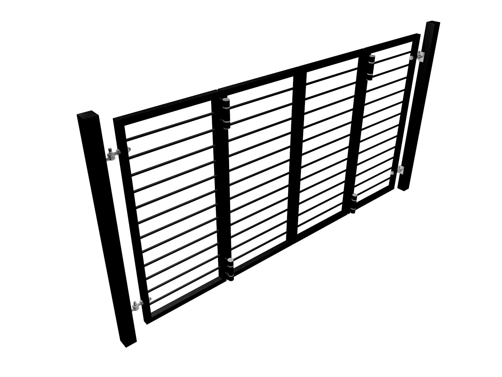 bi-fold automated metal gate with horizontal round bars