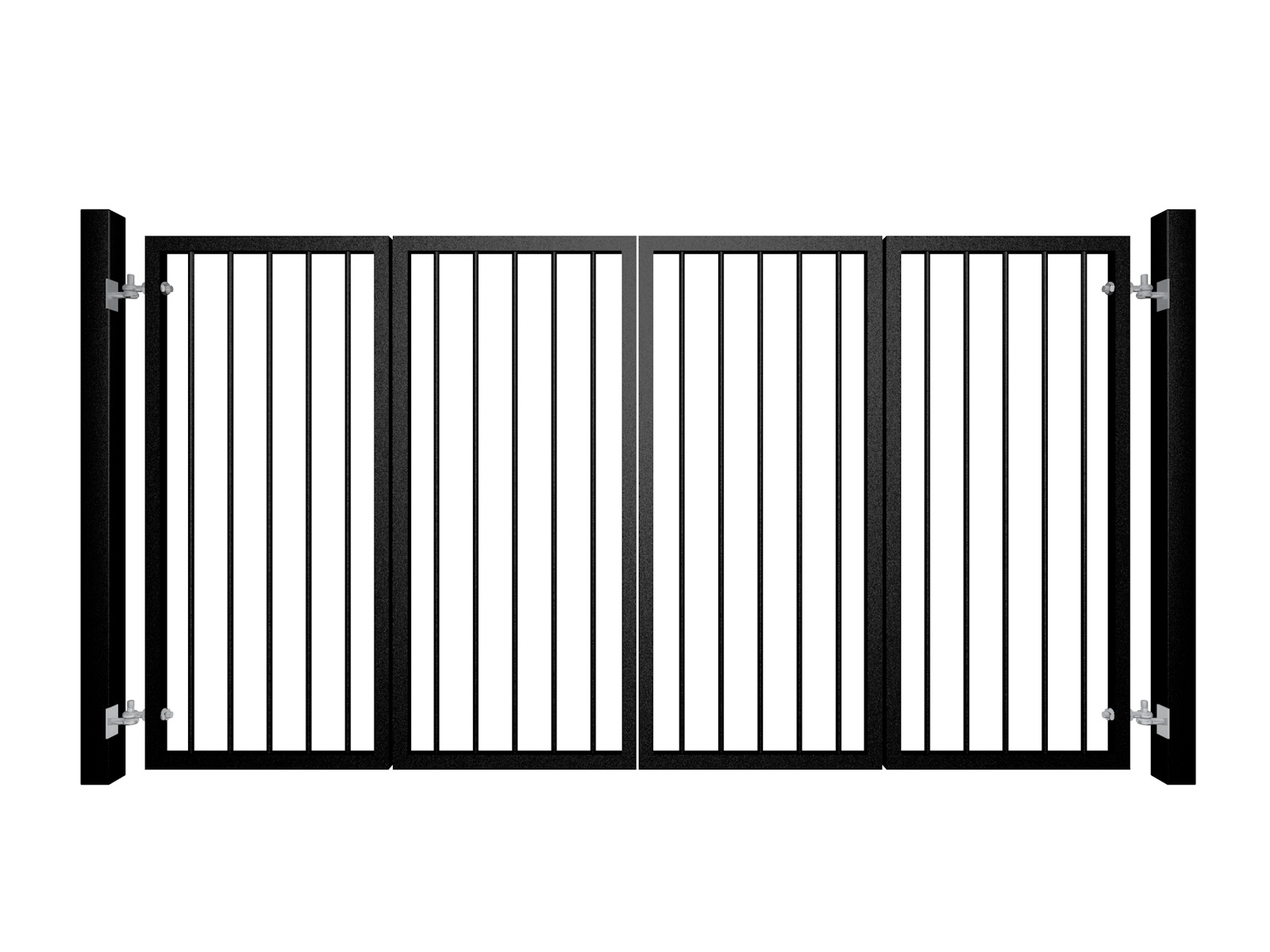 bi-fold automated metal gate with vertical round bars