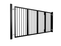 bi-fold automated metal gate with vertical round bars bristol