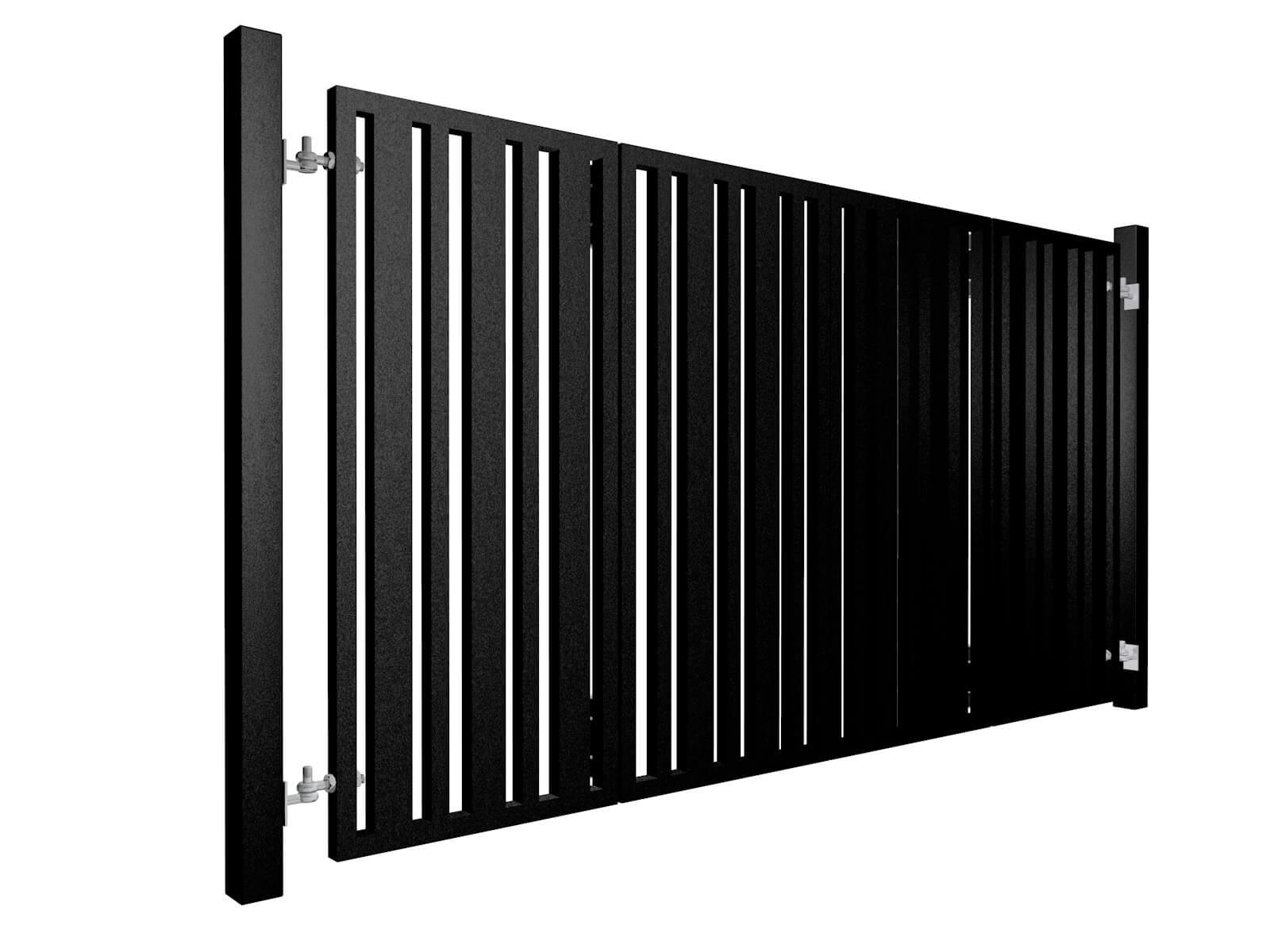 black powder coated bi-fold metal box section automated gates in bristol