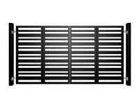 black powder coated bi-fold metal box section automated gates