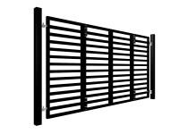 black powder coated bi-fold horizontal metal box section automated gates